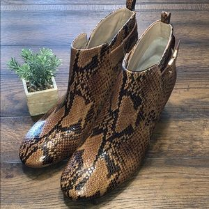 Tory Burch Gemini Link Leather Python Booties